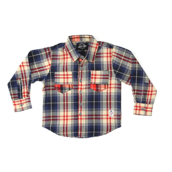 Something Strong Boys Long Sleeve Flannel Shirt in Blue