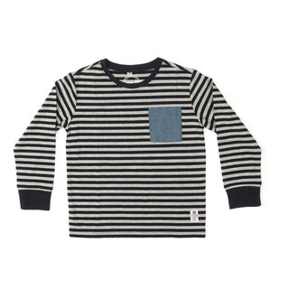 Something Strong Boys Striped Long Sleeve T-Shirt in Grey/DkGrey