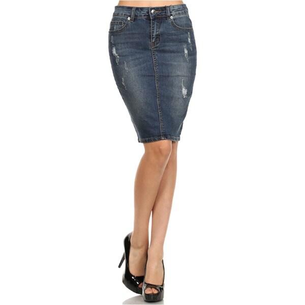 Tabeez Women's Distressed Denim Pencil Skirt
