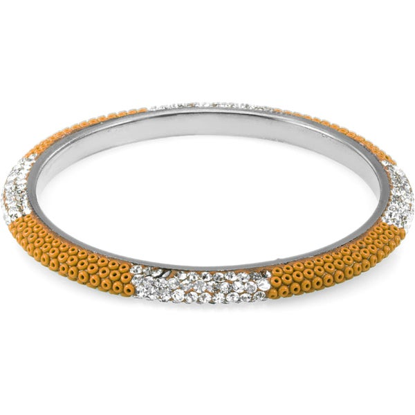 Sterling Silverplated Bead and Clear Crystal Bangle