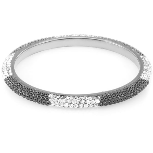 Sterling Silverplated Black Bead and Clear Crystal Bangle