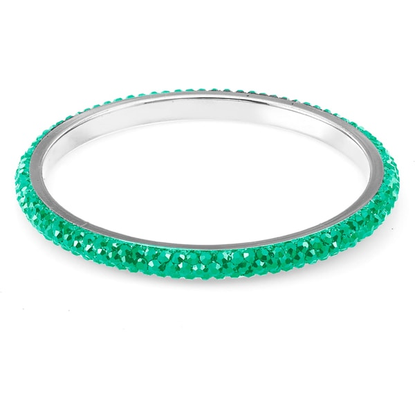 Sterling Silverplated Turquoise Crystals Bangle