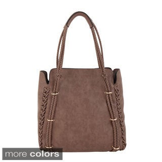 Melie Bianco 'Fawn' Braided Trim Double Handle Tote