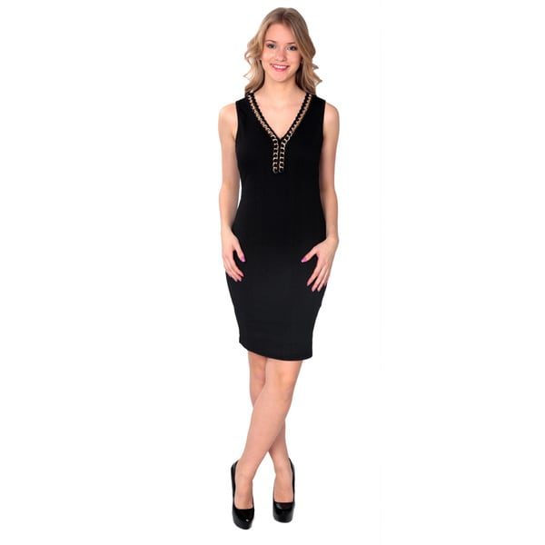Nancy Yang Women's Chain Neck Midi Dress