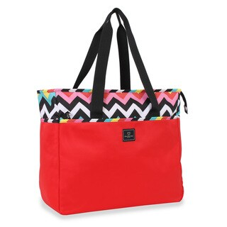 French West Indies 18-inch Red Chevron Carry On Weekender Tote Bag
