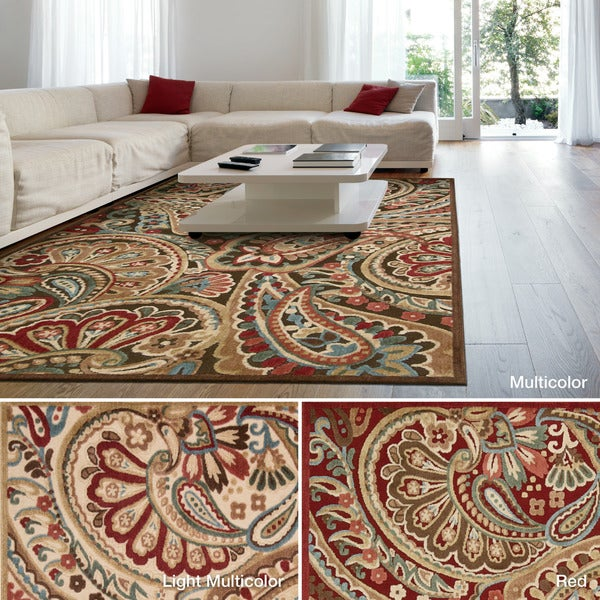 Safavieh Lyndhurst Collection Paisley Red/ Multi Rug (8 x 11)