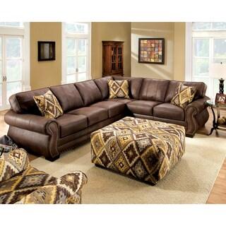 Furniture of America Prella Dark Brown Leatherette Sectional