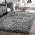 nuLOOM Handmade Soft and Plush Solid Grey Shag Rug (5' x 8')