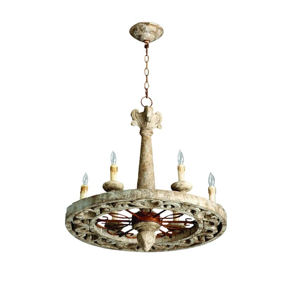 RL8014C 6W 6-light White Chandelier