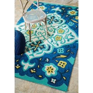 nuLOOM Handmade Modern Indoor/ Outdoor Abstract Blue Rug (5' x 8')