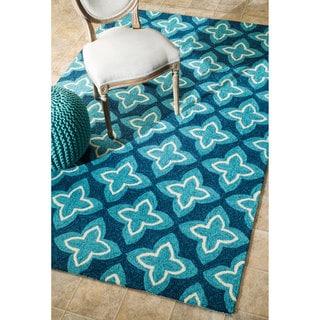 nuLOOM Handmade Modern Indoor/ Outdoor Geometric Blue Rug (5' x 8')