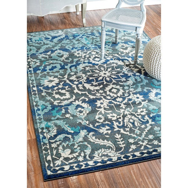 Nuloom Modern Vintage Abstract Blue Rug 7 10 X 9 6