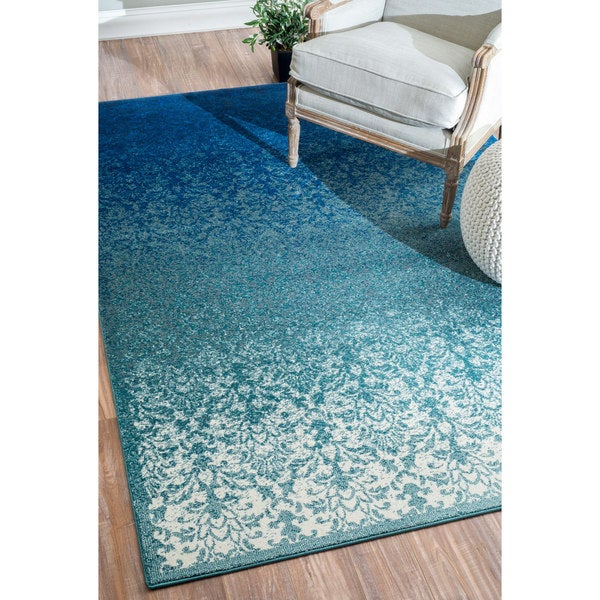 Nuloom Modern Abstract Vintage Turquoise Rug 7 10 X 9 6