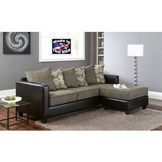 2-piece Bicast/ Chenille Reversible Sectional