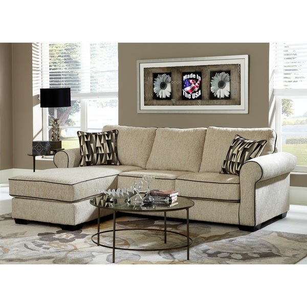 Cream Chenille Reversible Sofa Chaise Sectional