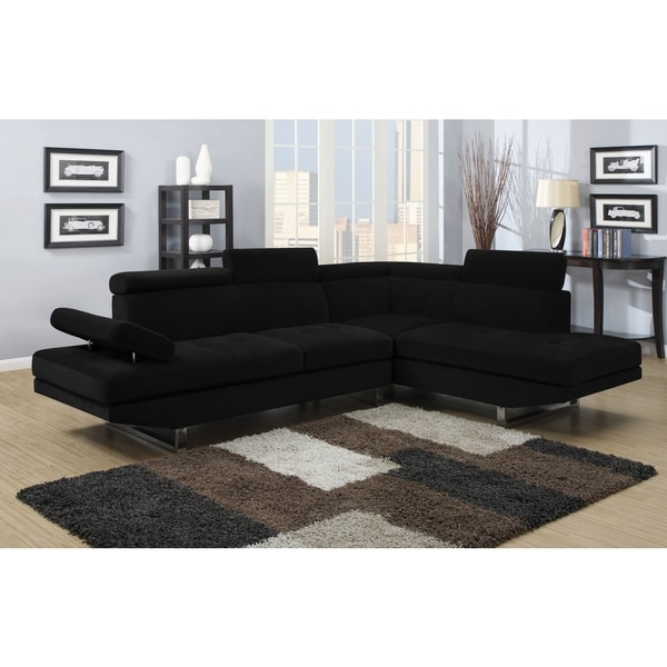 Black Textured Sateen Sectional