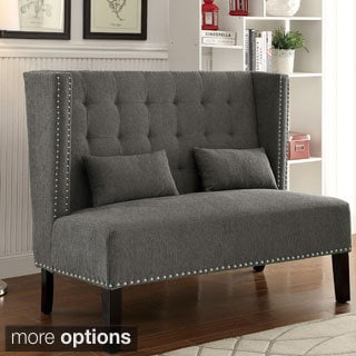 Furniture of America Miere Romantic Tufted Wingback Loveseat