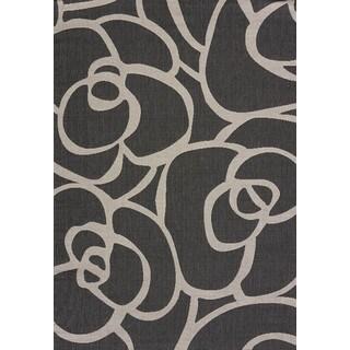 Flat-weave Terrace Lindsay Silver Indoor/Outdoor Area Rug (7'10 x 10'6)