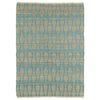 Handmade Natural Fiber Canyon Teal Rug (8'0 x 11'0)