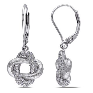 Miadora Sterling Silver 1/5ct TDW Diamond Love Knot Dangle Earrings (G-H, I2-I3)