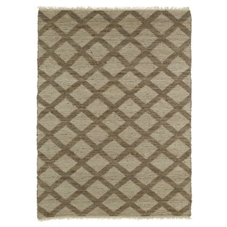 Handmade Natural Fiber Cayon Chocolate Lattice Rug (7'6 x 9'0)