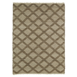 Handmade Natural Fiber Cayon Chocolate Lattice Rug (8'0 x 11'0)