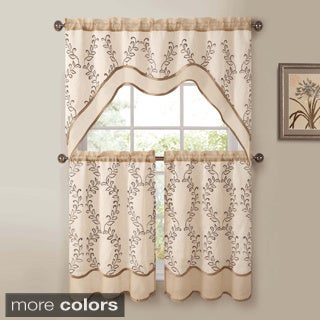 Victoria Classics Everwood Embroidered Curtain Panel and Valance