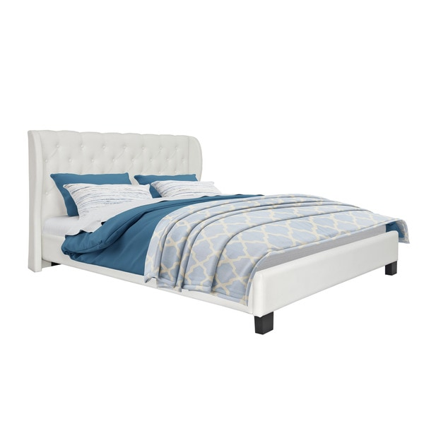 CorLiving Fairfield Tufted White Bonded Leather Bed