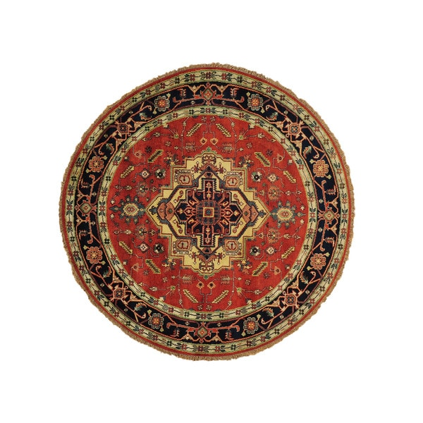 Hand-knotted Round Rust Red Serapi Heriz Oriental Rug (8' x 8') 14949349