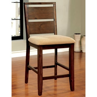 Furniture of America Montelle Dark Oak Counter Height Dining Chair (Set of 2)