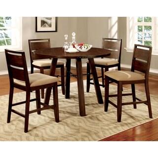 Furniture of America Montelle 5-piece Dark Oak Round Counter Height Dining Set