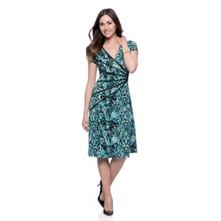 Connected Apparel Women's Dark Turquoise Novelty Print Dress
