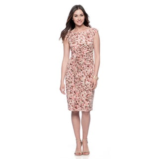 Connected Apparel Women's Peach Novelty Print Sleeveless Dress