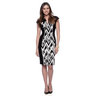 Connected Apparel Women's Black and White Abstract Chevron Dress