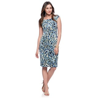 Connected Apparel Women's Denim Blue Novelty Print Cap Sleeve Dress