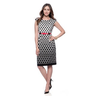 Connected Apparel Women's Black and White Geometric Print Dress