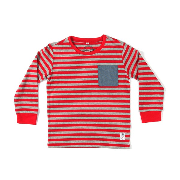 Something Strong Boys Striped Long Sleeve T-Shirt in Salmon/Grey