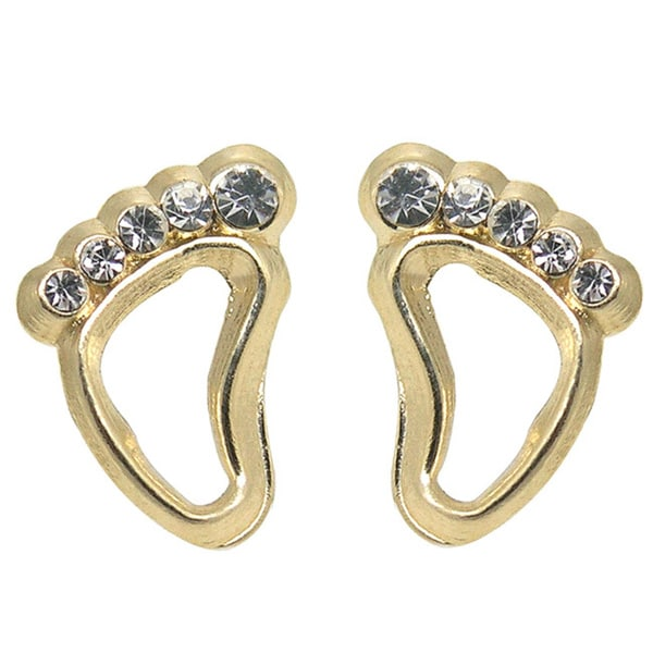 De Buman 14k Yellow Gold Cubic Zirconia Footprint Screw-back Earrings