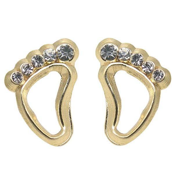 De Buman 14k Yellow Gold Cubic Zirconia Footprint Screw-back Earrings