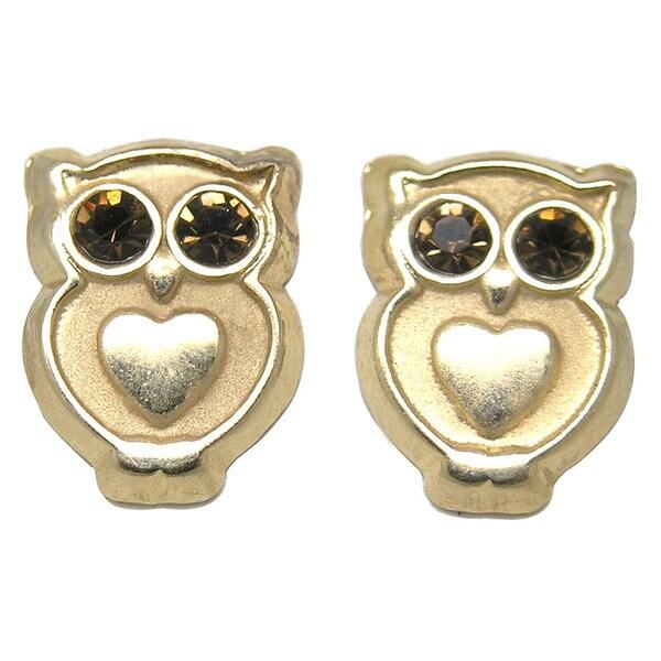 De Buman 14K Yellow Gold Dark Brown Crystal Owl Screw back Earrings