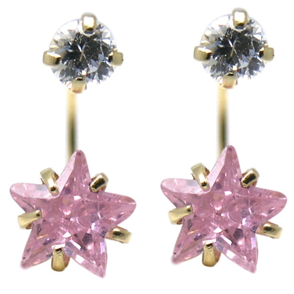 De Buman 14K Yellow Gold White Star Crystal, Red Star Crystal or Pink Star Crystal Double Stud Earrings