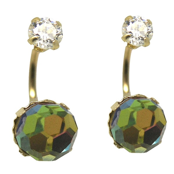 De Buman 14k Yellow Gold Green Crystal Double Stud Earrings