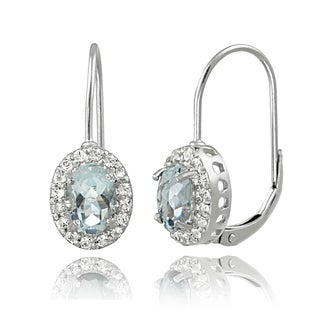 Glitzy Rocks Sterling Silver Aquamarine and White Topaz Leverback Earrings