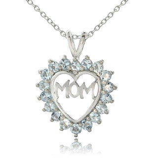 Glitzy Rocks Sterling Silver Aquamarine 'Mom in Heart' Necklace
