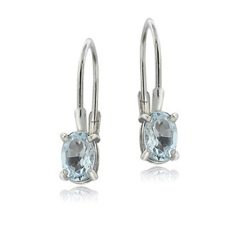 Glitzy Rocks Sterling Silver Aquamarine Leverback Earrings