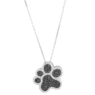 La Preciosa Sterling Silver Black and White Micropave Cubic Zirconia Paw Print Necklace
