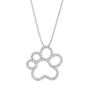 La Preciosa Sterling Silver Micropave Cubic Zirconia Paw Print Necklace