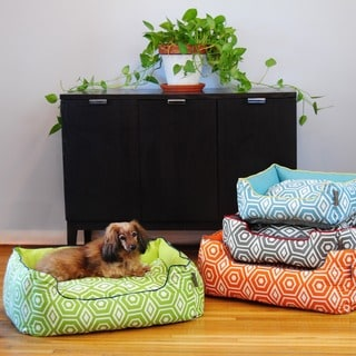 EZ Living Home Honeycomb Print Water Repellent Reversible Cotton Twill Bolster Pet Bed