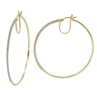 14k Gold over Silver 1/10 ct Diamond Encrusted Hoop Earrings