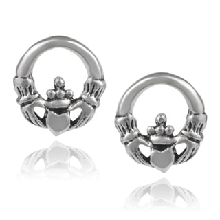 Journee Collection Sterling Silver Handcrafted Claddagh Stud Earrings